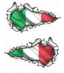 Long Pair Ripped Torn Metal Design With Italy Italian il Tricolore Flag Motif External Vinyl Car Sticker 120x70mm each